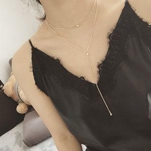Jewelry - Multilayer Chain Choker Crystal Pendant Necklace